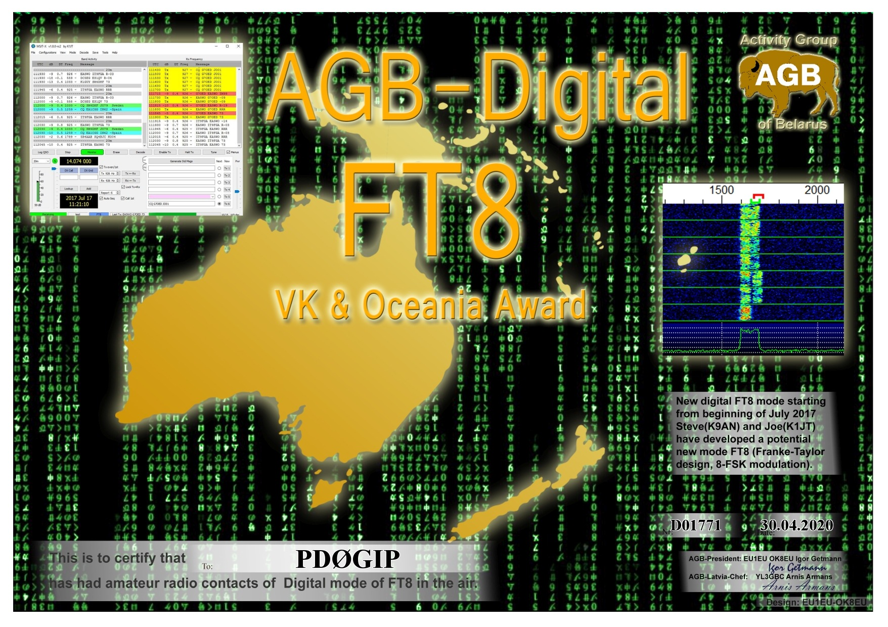 PD0GIP FT8 OCEANIA BASIC AGB