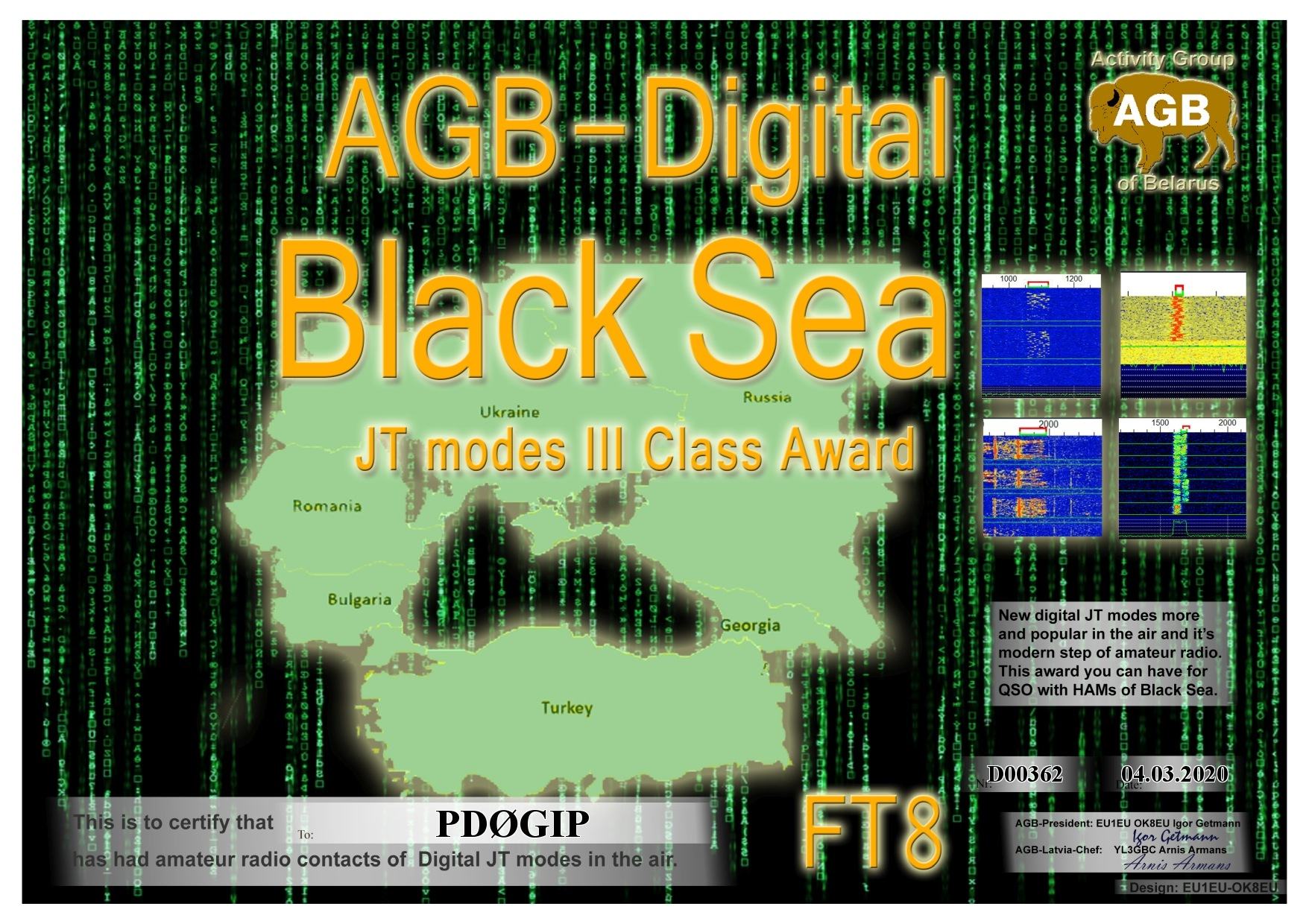 PD0GIP BLACKSEA FT8 III AGB