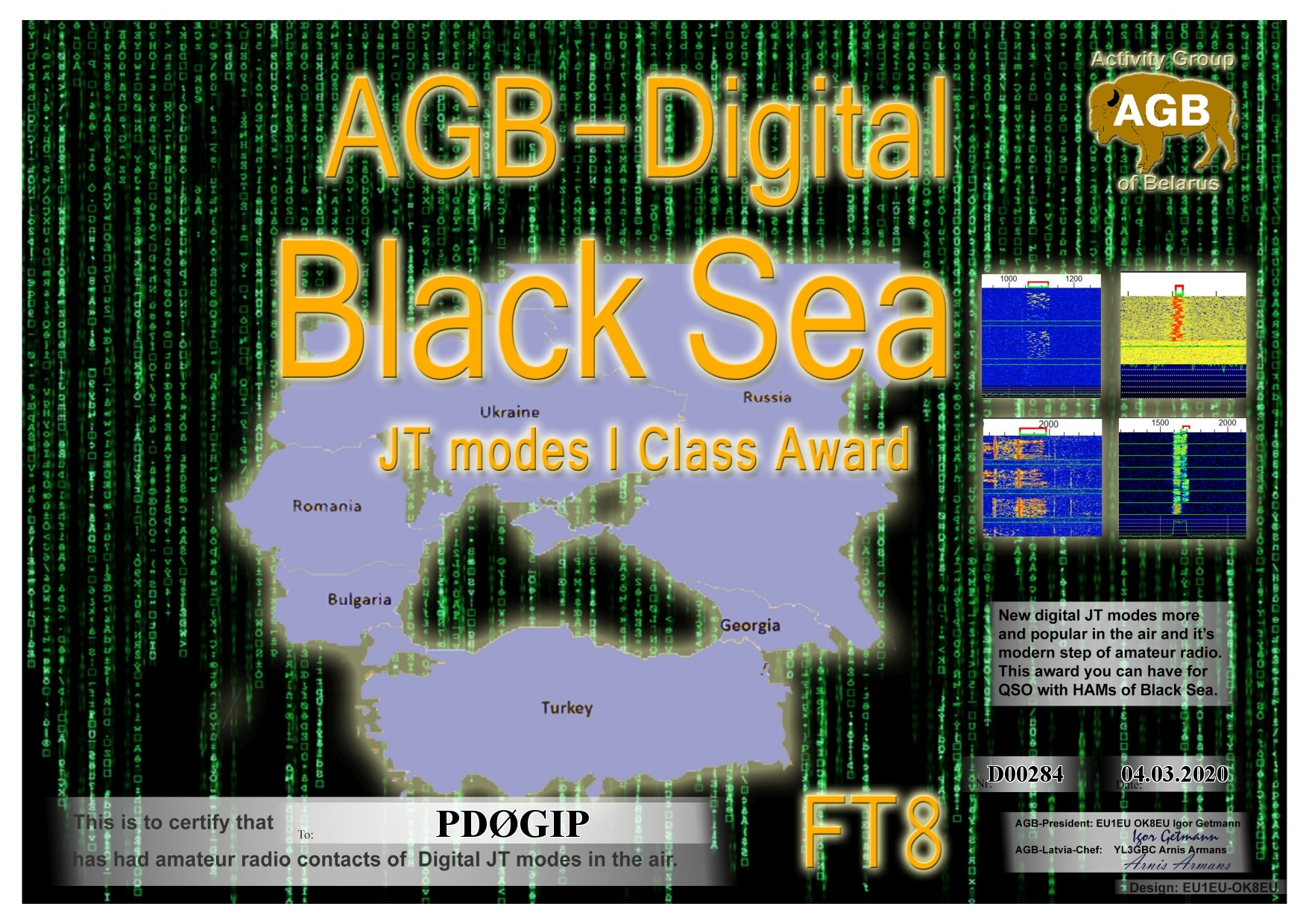 PD0GIP BLACKSEA FT8 I AGB