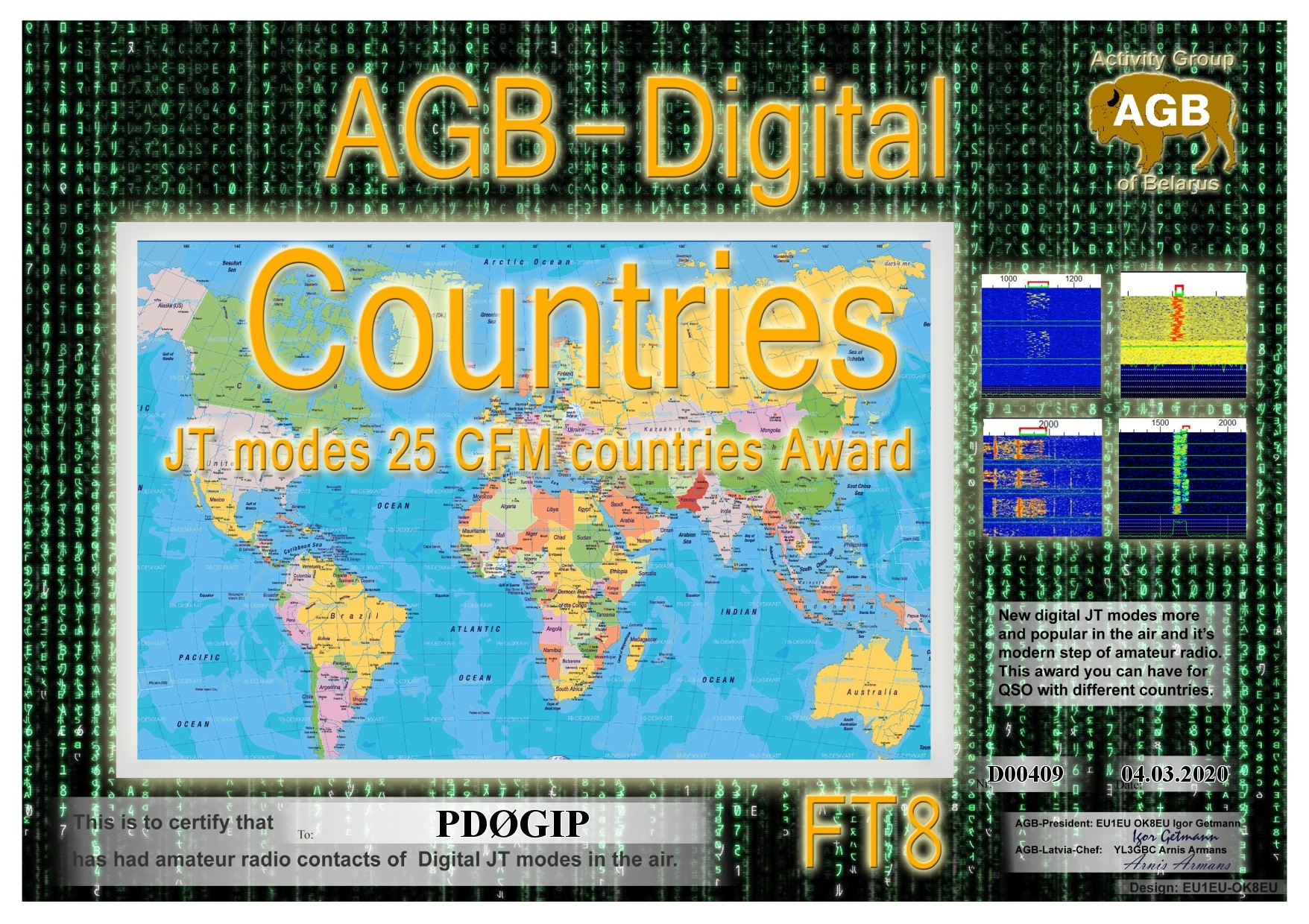 PD0GIP COUNTRIES FT8 25 AGB