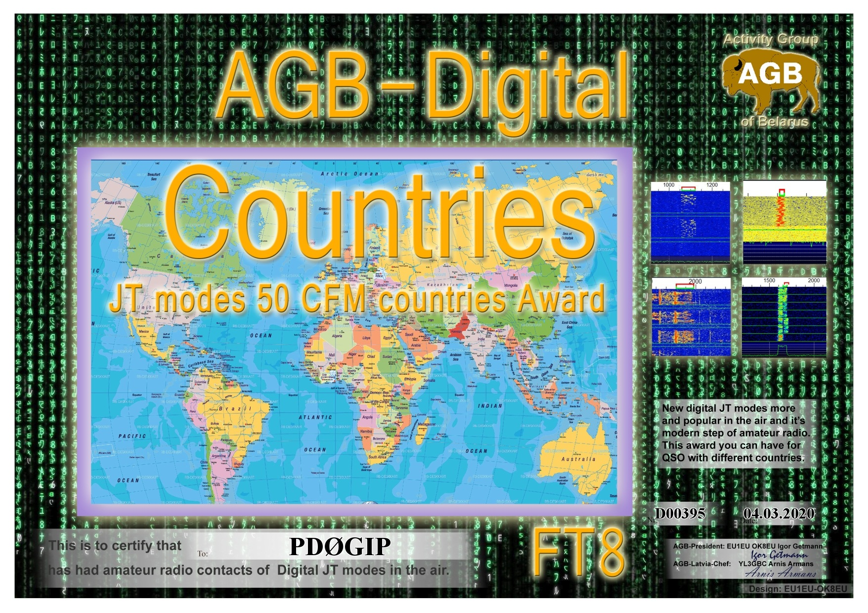 PD0GIP COUNTRIES FT8 50 AGB