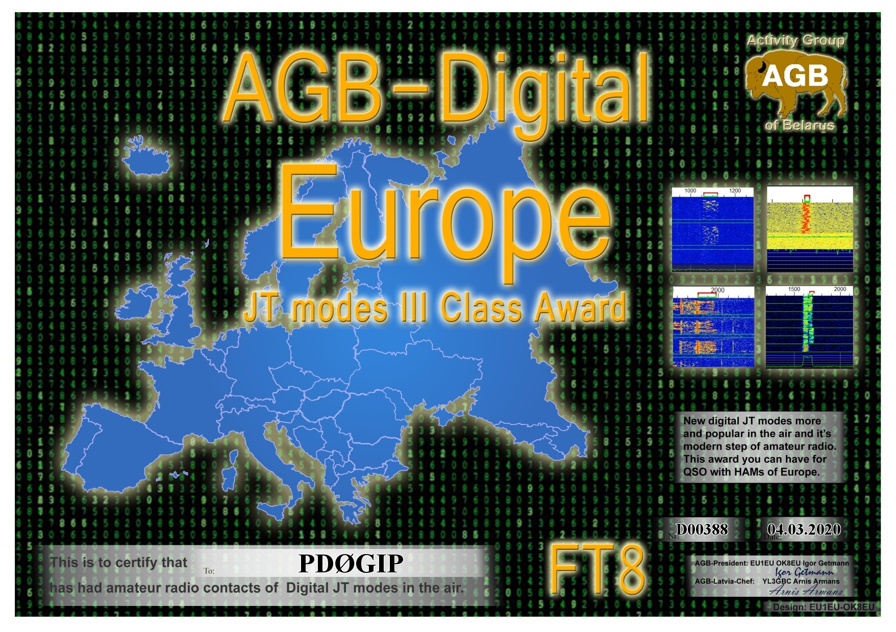 PD0GIP EUROPE FT8 III AGB