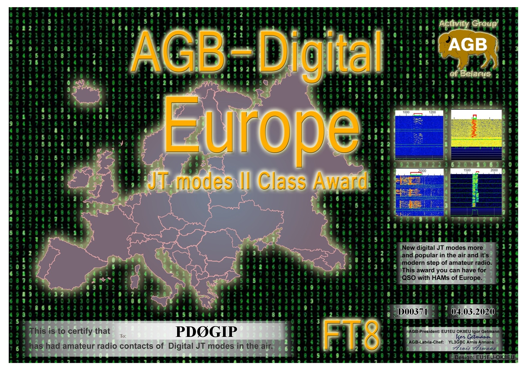 PD0GIP EUROPE FT8 II AGB