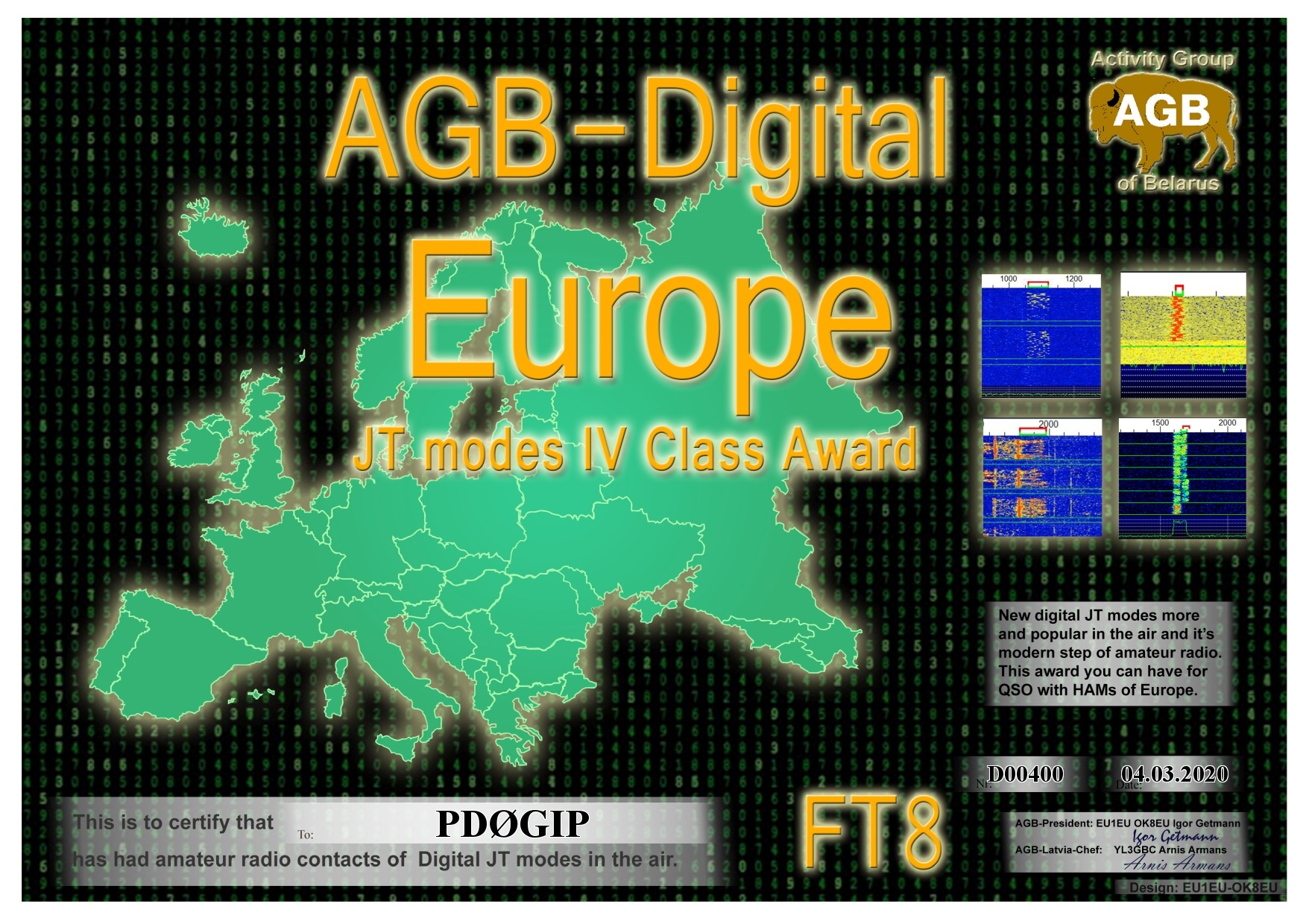 PD0GIP EUROPE FT8 IV AGB