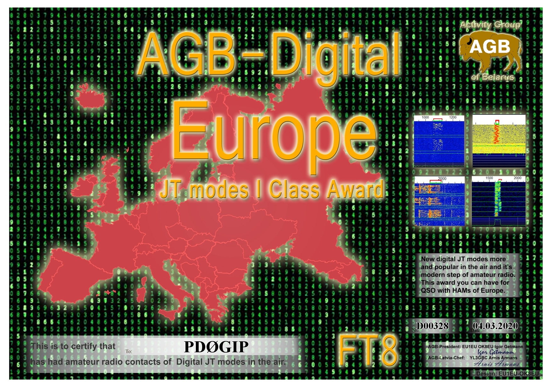 PD0GIP EUROPE FT8 I AGB
