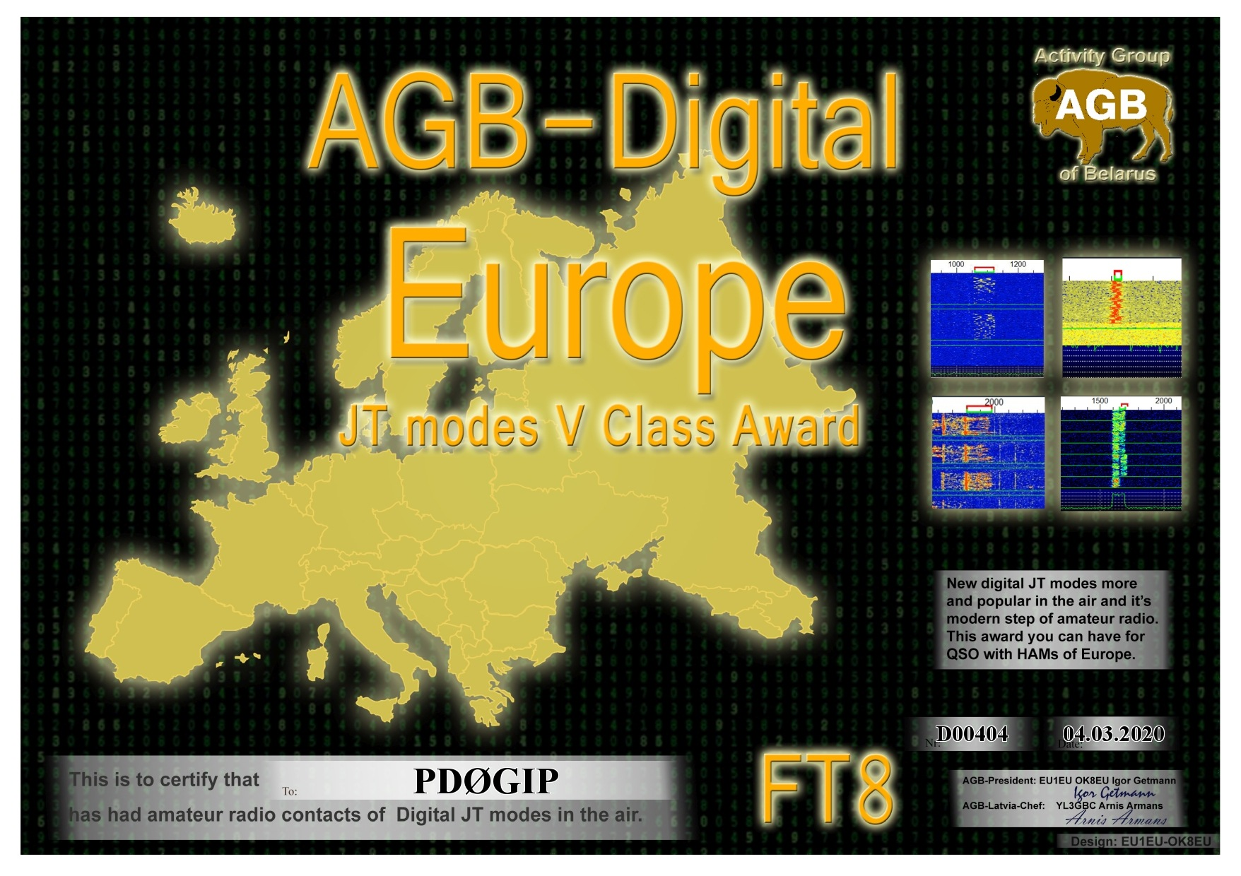 PD0GIP EUROPE FT8 V AGB