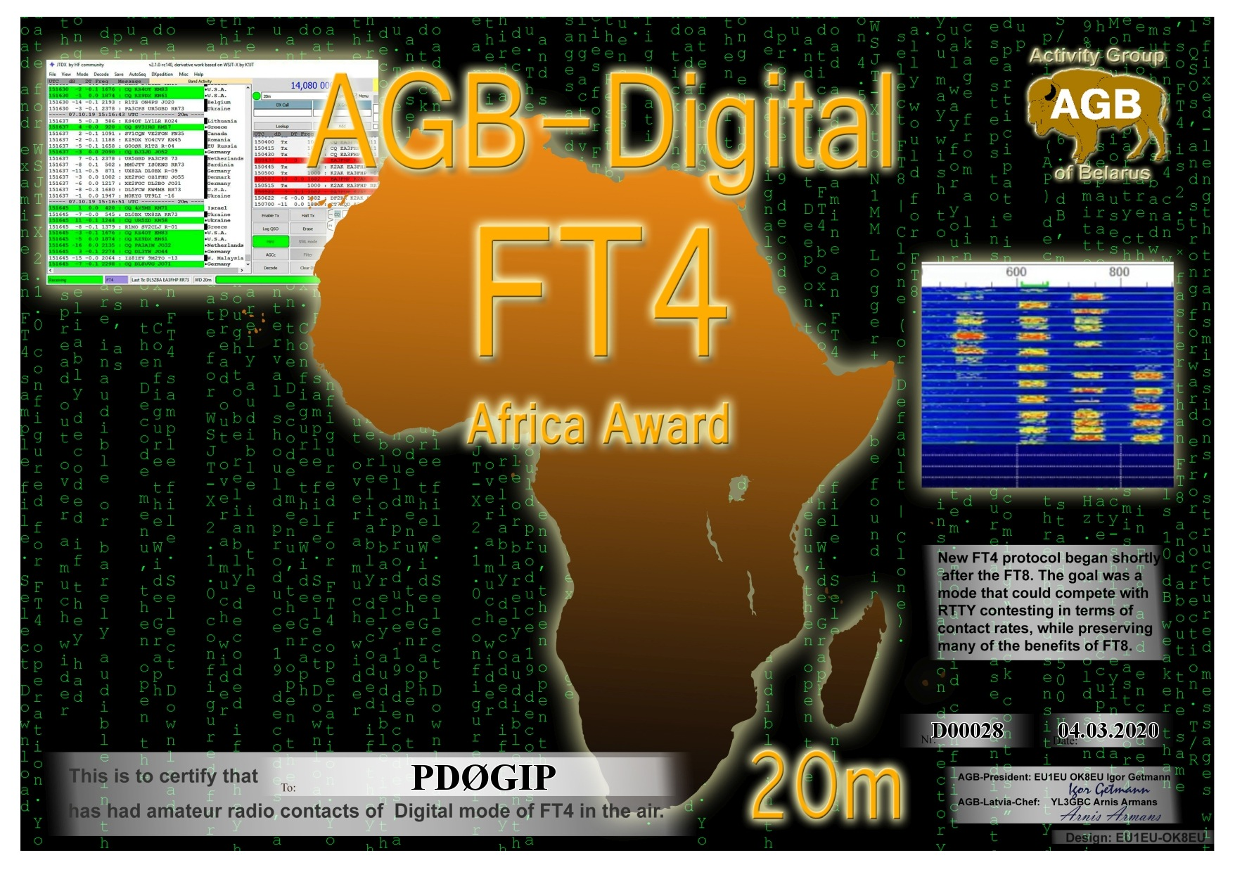 PD0GIP FT4 AFRICA 20M AGB