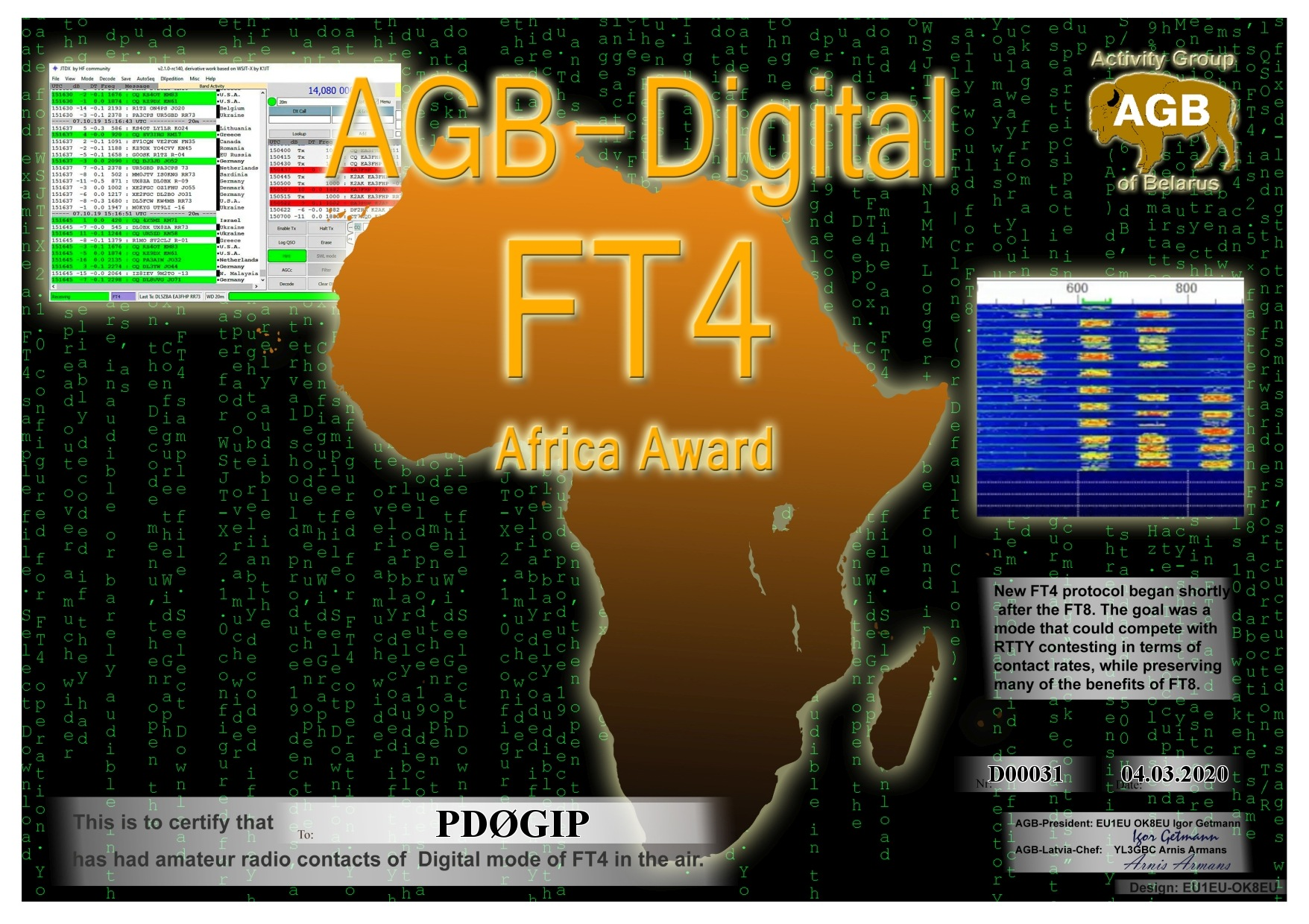 PD0GIP FT4 AFRICA BASIC AGB