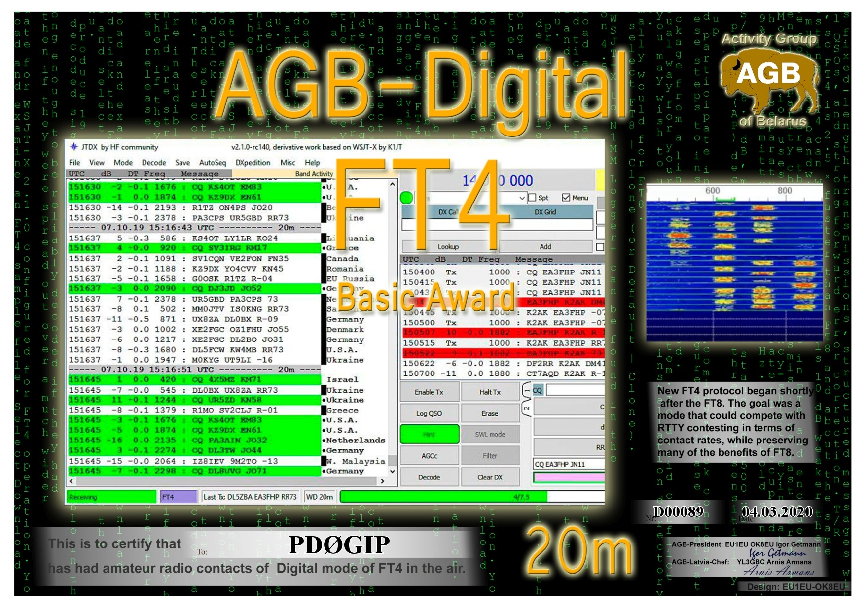 PD0GIP FT4 BASIC 20M AGB