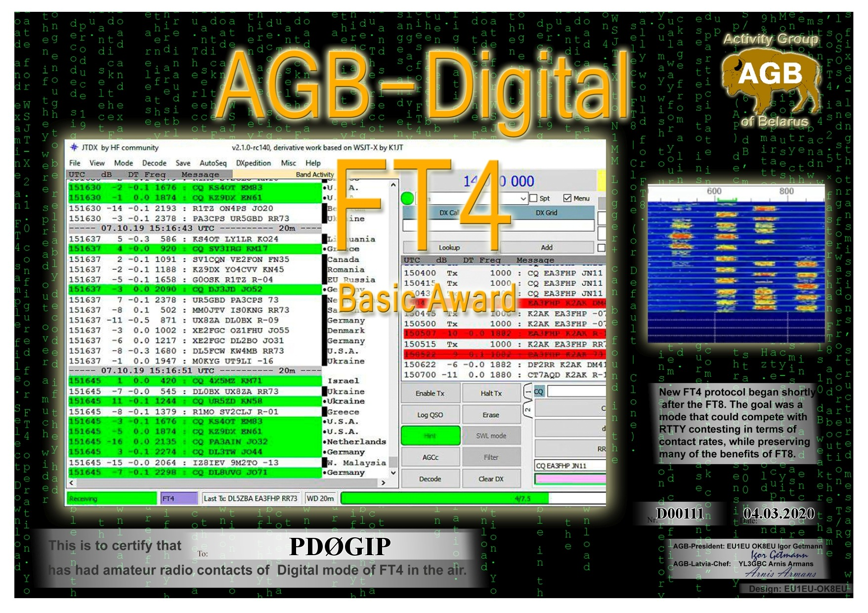 PD0GIP FT4 BASIC BASIC AGB