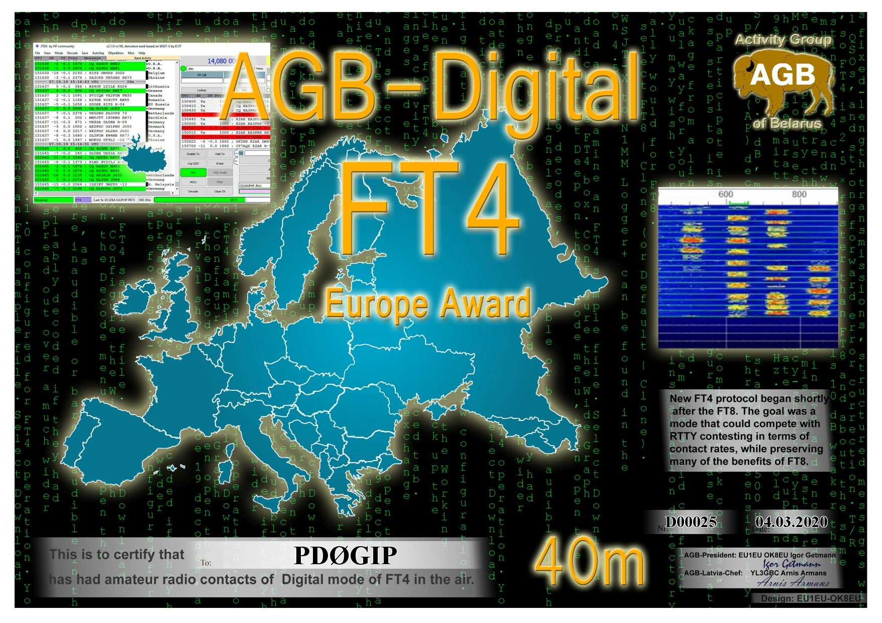 PD0GIP FT4 EUROPE 40M AGB