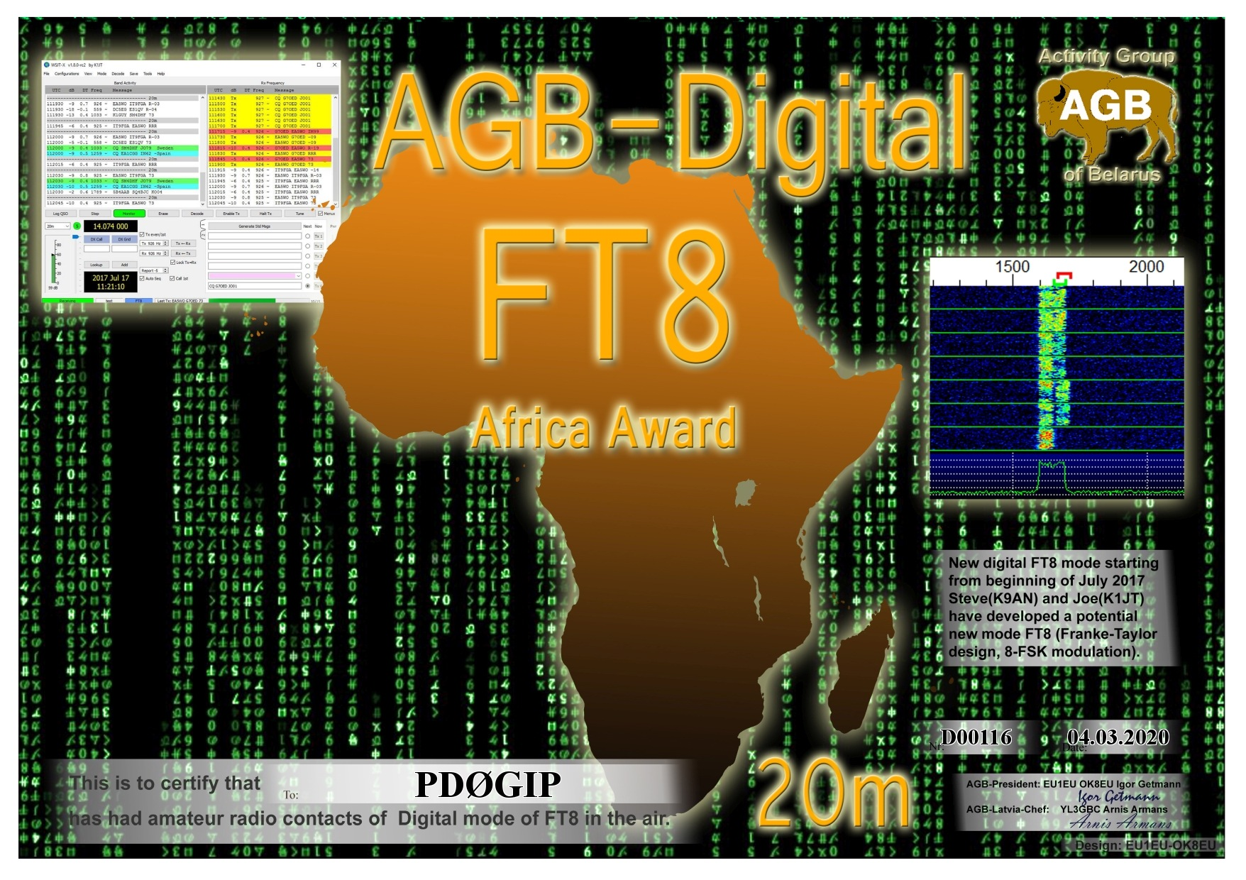 PD0GIP FT8 AFRICA 20M AGB