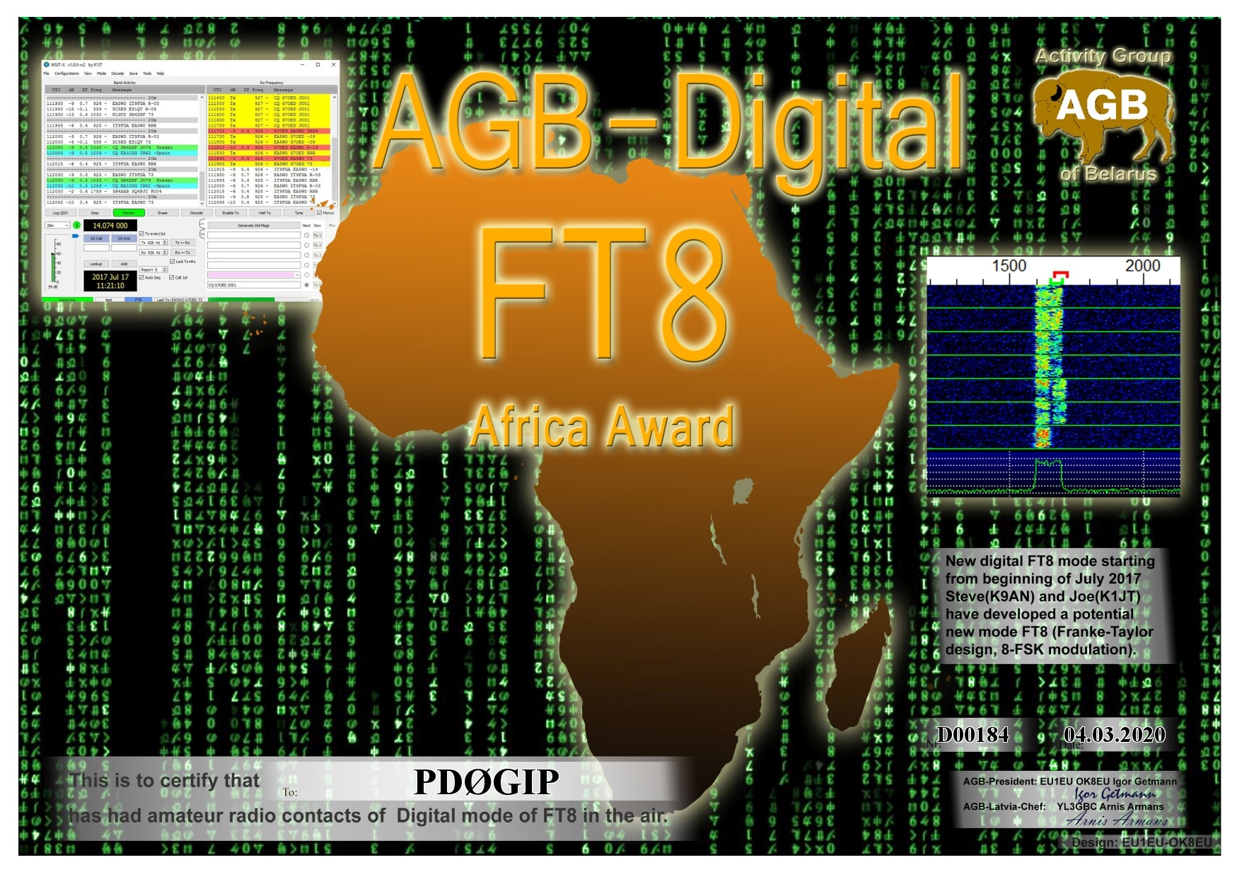 PD0GIP FT8 AFRICA BASIC AGB