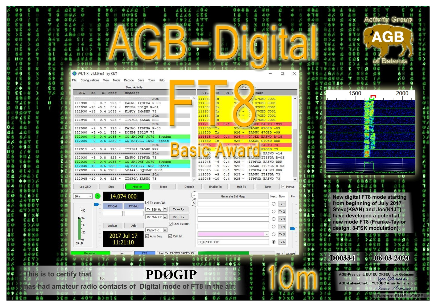 PD0GIP FT8 BASIC 10M AGB