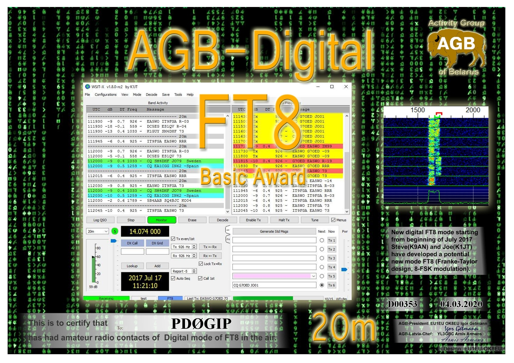 PD0GIP FT8 BASIC 20M AGB
