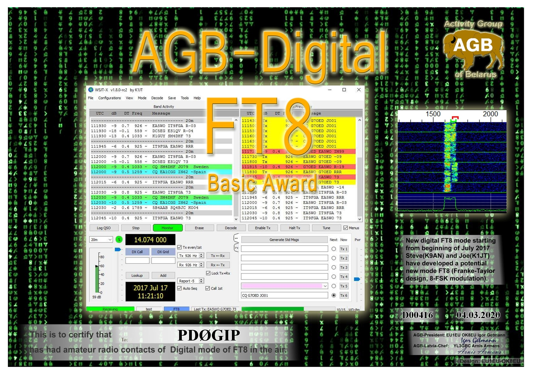 PD0GIP FT8 BASIC BASIC AGB