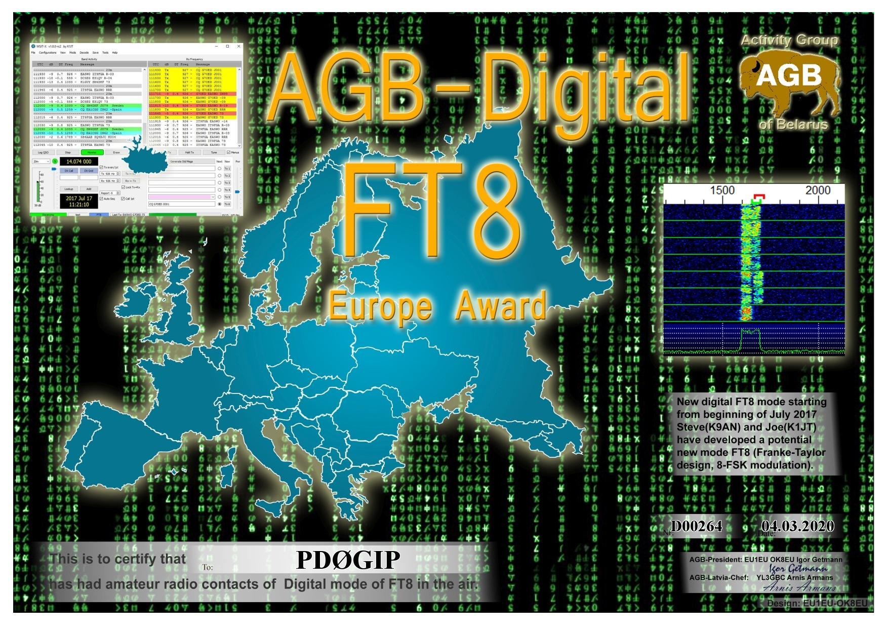 PD0GIP FT8 EUROPE BASIC AGB