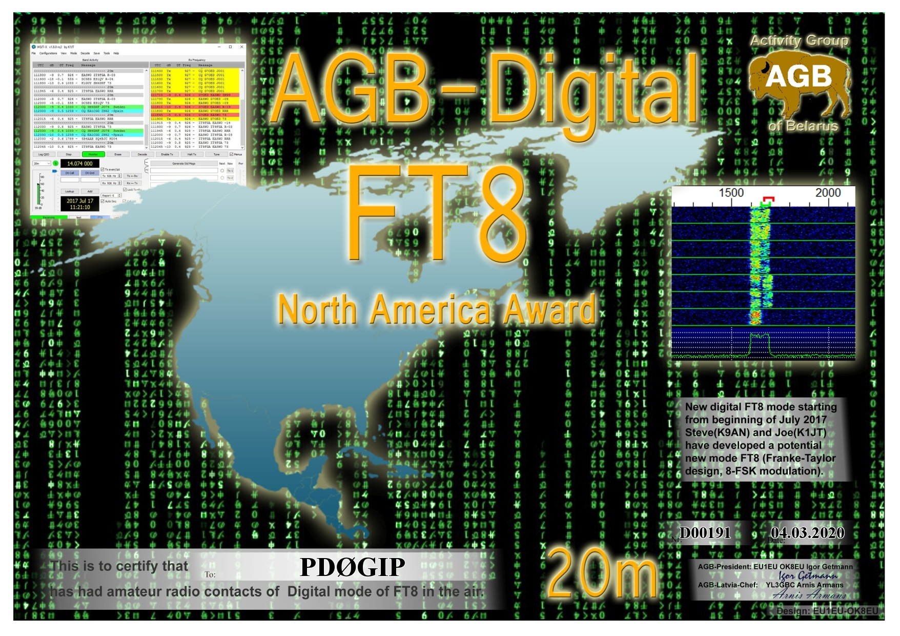 PD0GIP FT8 NORTHAMERICA 20M AGB