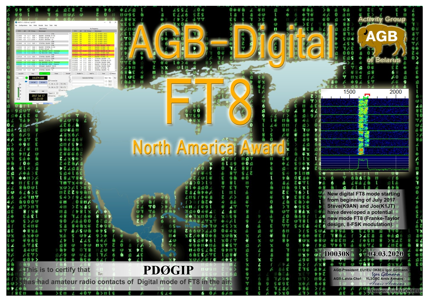 PD0GIP FT8 NORTHAMERICA BASIC AGB