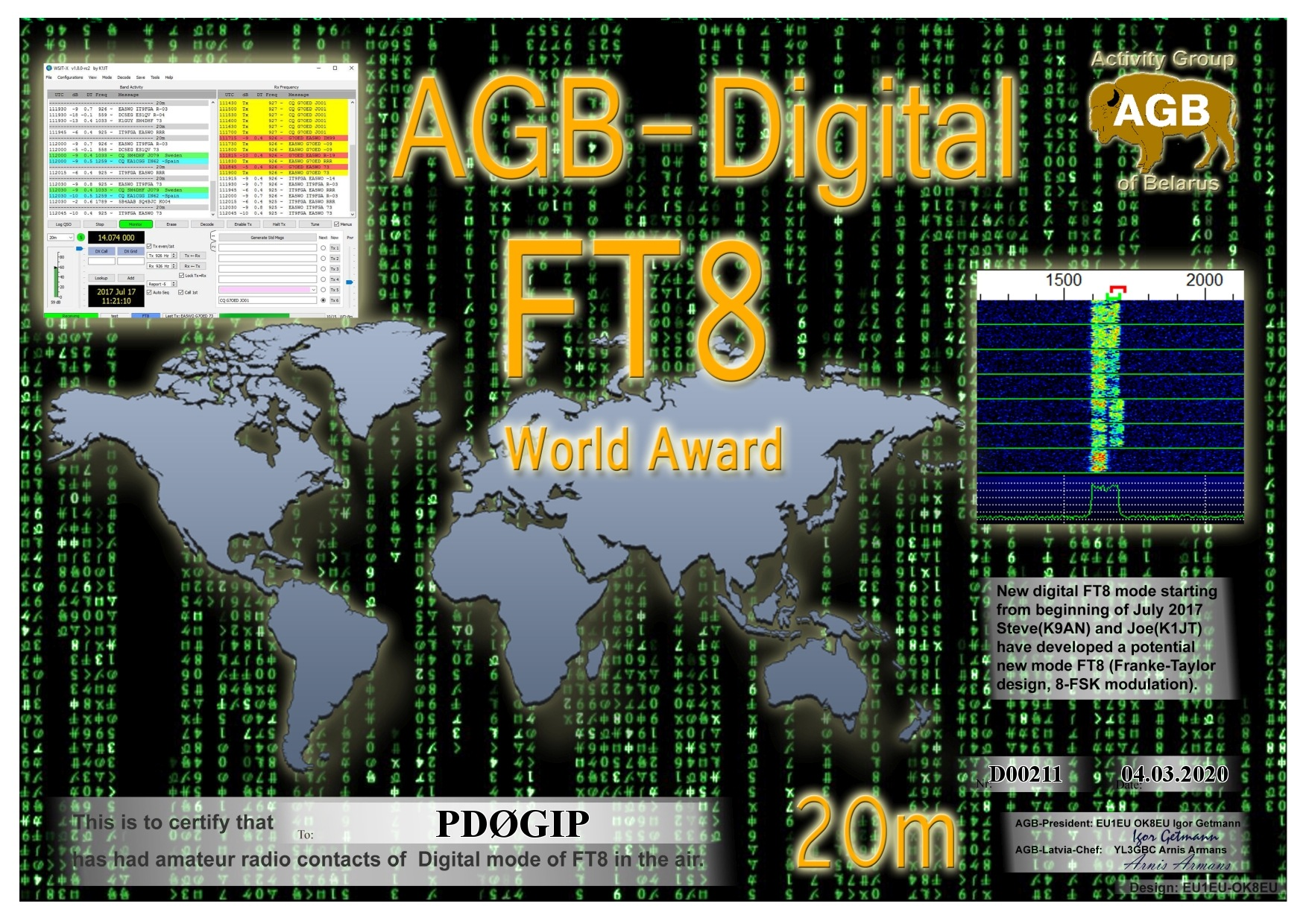 PD0GIP FT8 WORLD 20M AGB