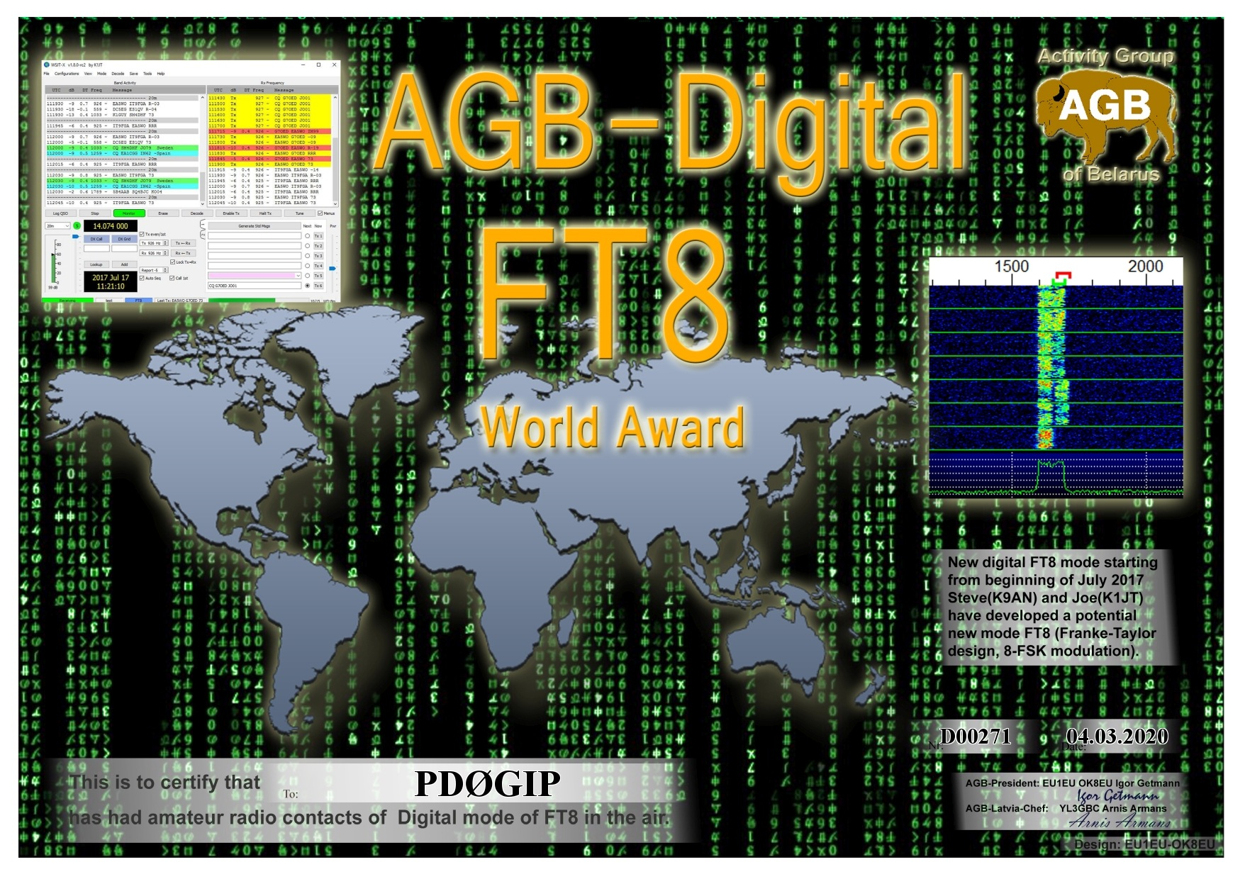 PD0GIP FT8 WORLD BASIC AGB