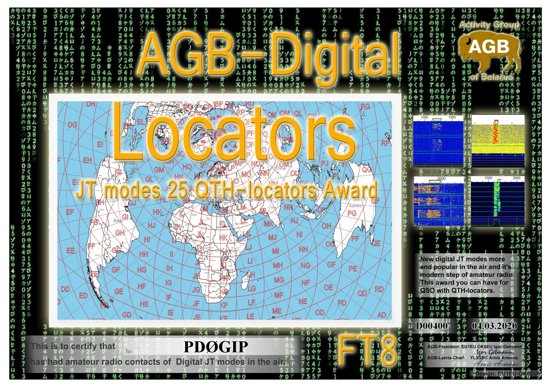 PD0GIP LOCATORS FT8 25 AGB