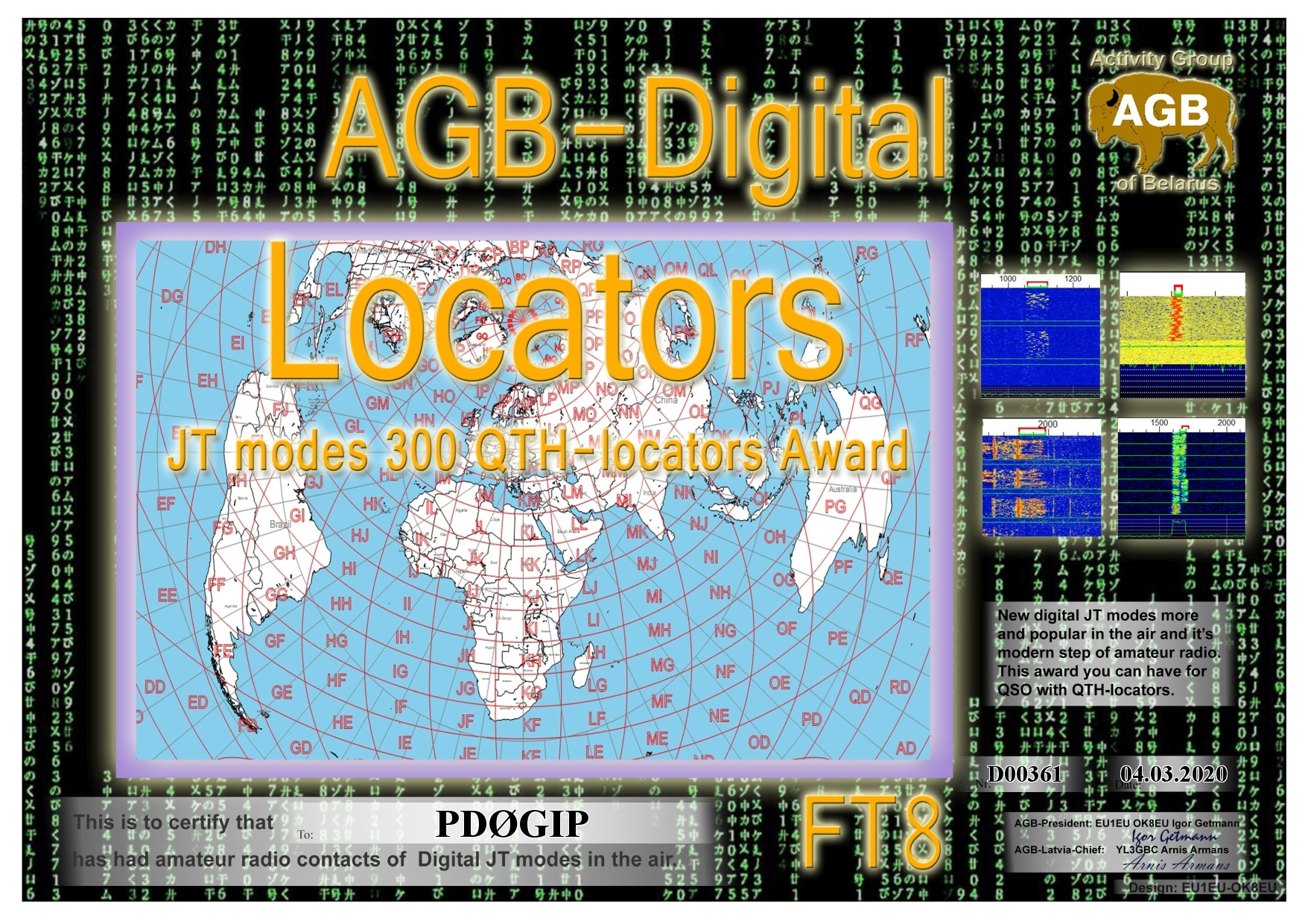 PD0GIP LOCATORS FT8 300 AGB