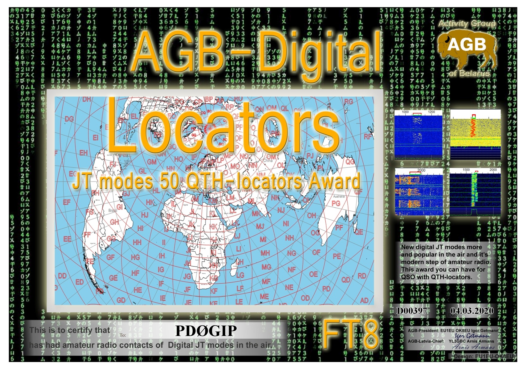 PD0GIP LOCATORS FT8 50 AGB