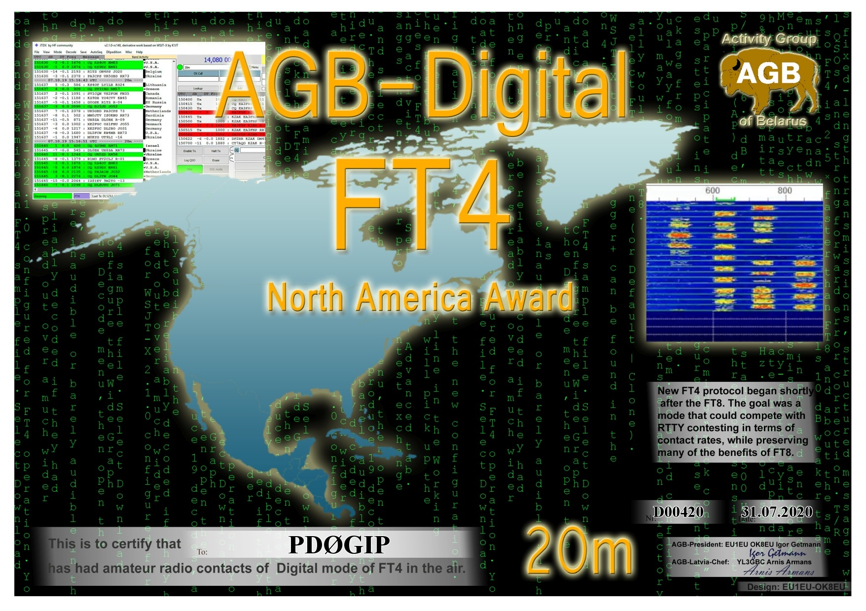 PD0GIP FT4 NORTHAMERICA 20M AGB