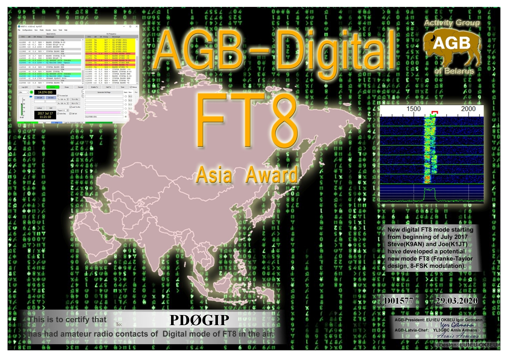 PD0GIP FT8 ASIA BASIC AGB