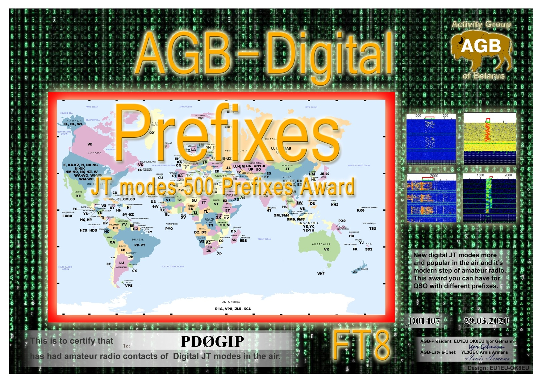 PD0GIP PREFIXES FT8 500 AGB