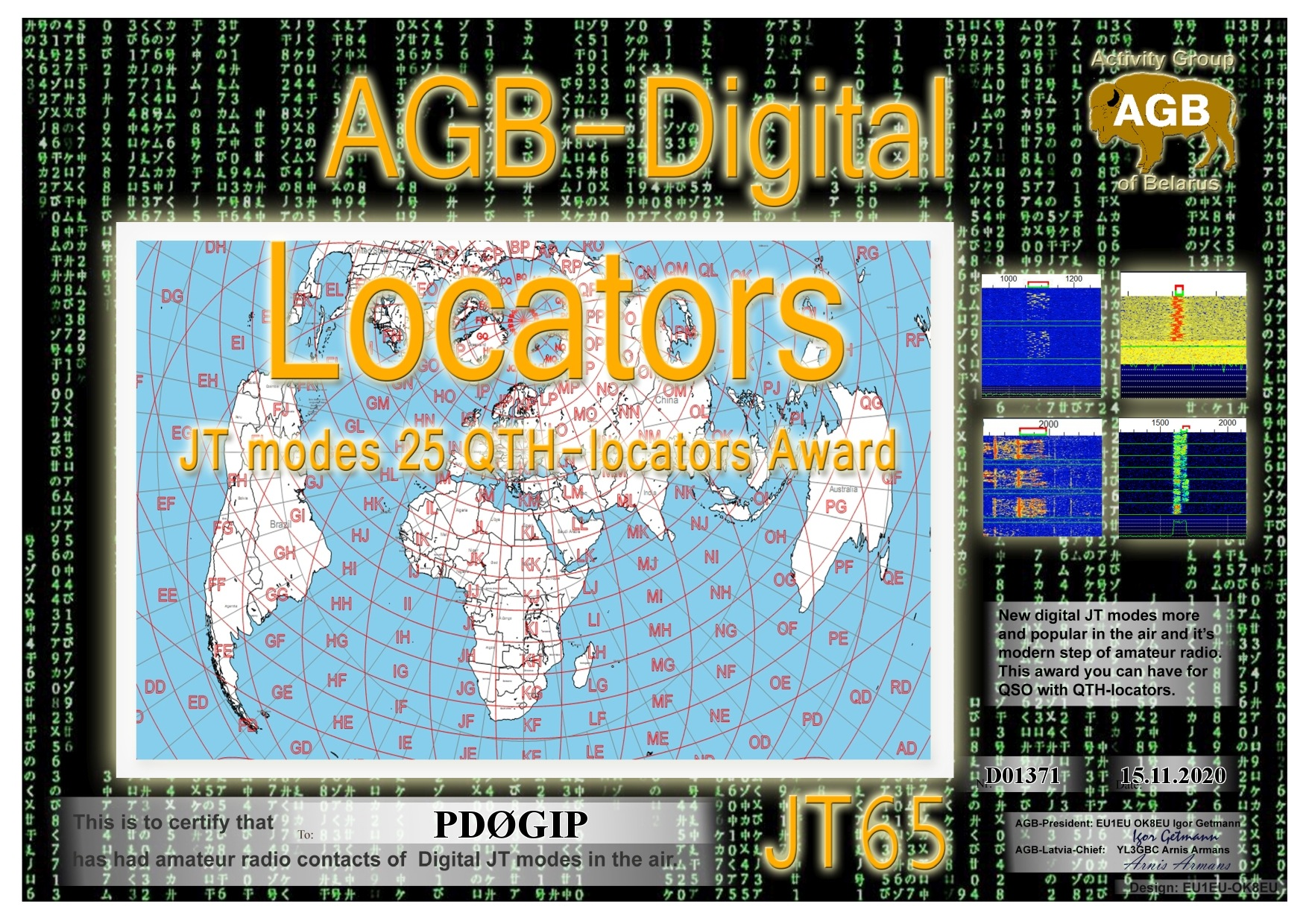 PD0GIP LOCATORS JT65 25 AGB