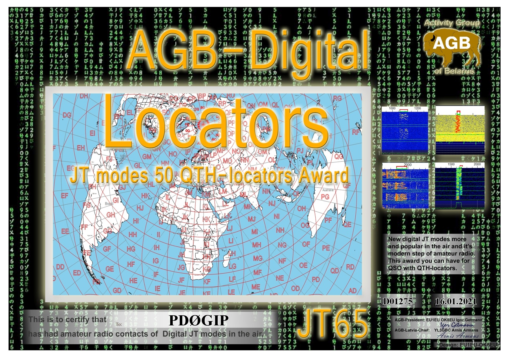 PD0GIP LOCATORS JT65 50 AGB